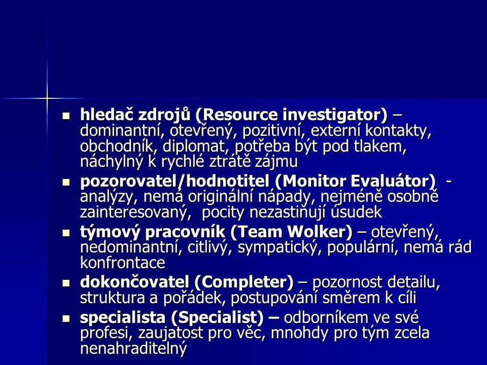 hledač zdrojů (Resource investigator) – dominantní, otevřený, pozitivní, externí kontakty, obchodník, diplomat, potřeba být pod tlakem, náchylný k ryc