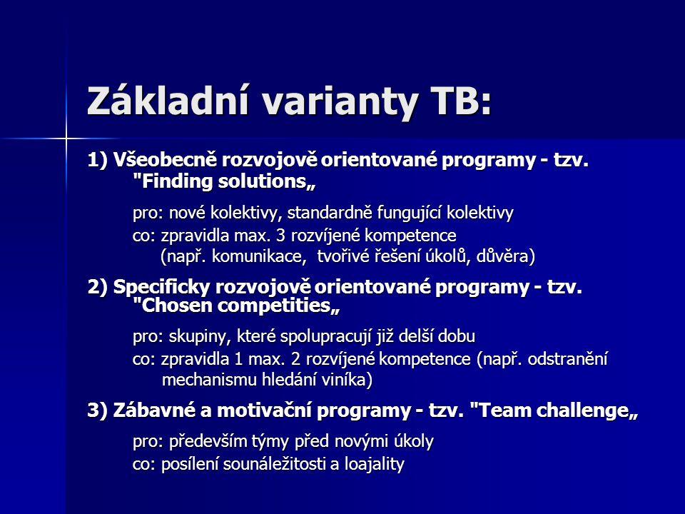 Základní varianty TB: 1) Všeobecně rozvojově orientované programy - tzv.
