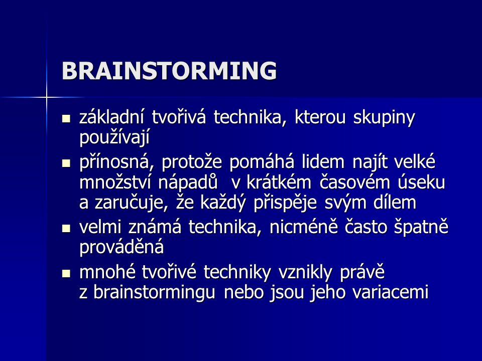 BRAINSTORMING základní tvořivá technika, kterou skupiny používají základní tvořivá technika, kterou skupiny používají přínosná, protože pomáhá lidem n