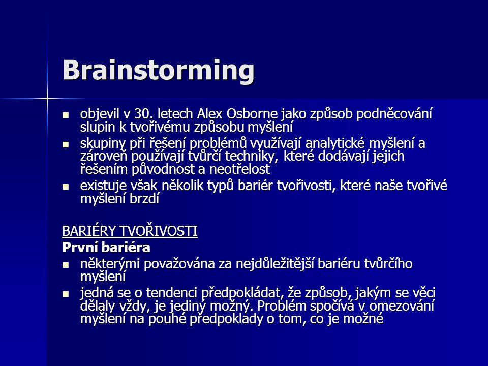 Brainstorming objevil v 30. letech Alex Osborne jako způsob podněcování slupin k tvořivému způsobu myšlení objevil v 30. letech Alex Osborne jako způs