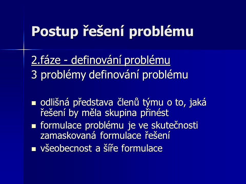 Postup řešení problému 2.fáze - definování problému 3 problémy definování problému odlišná představa členů týmu o to, jaká řešení by měla skupina přin