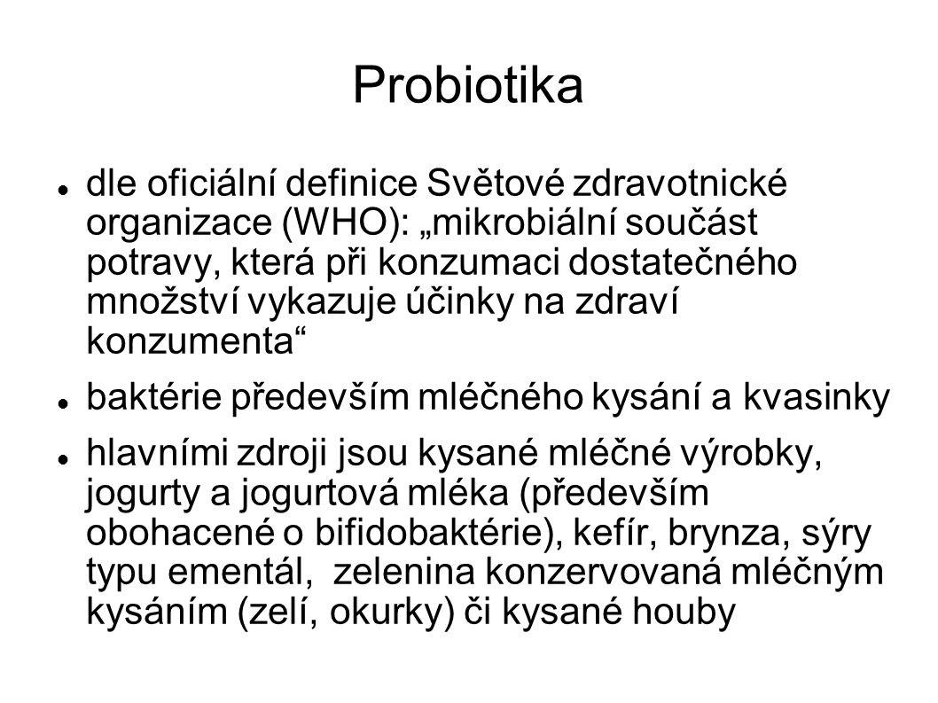 """Probiotika dle oficiální definice Světové zdravotnické organizace (WHO): """"mikrobiální součást potravy, která při konzumaci dostatečného množství vykaz"""