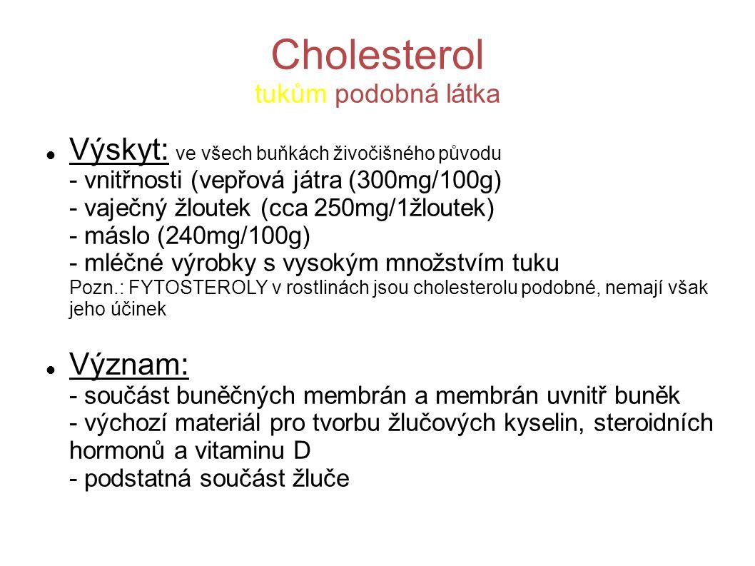 Cholesterol tukům podobná látka Výskyt: ve všech buňkách živočišného původu - vnitřnosti (vepřová játra (300mg/100g) - vaječný žloutek (cca 250mg/1žlo