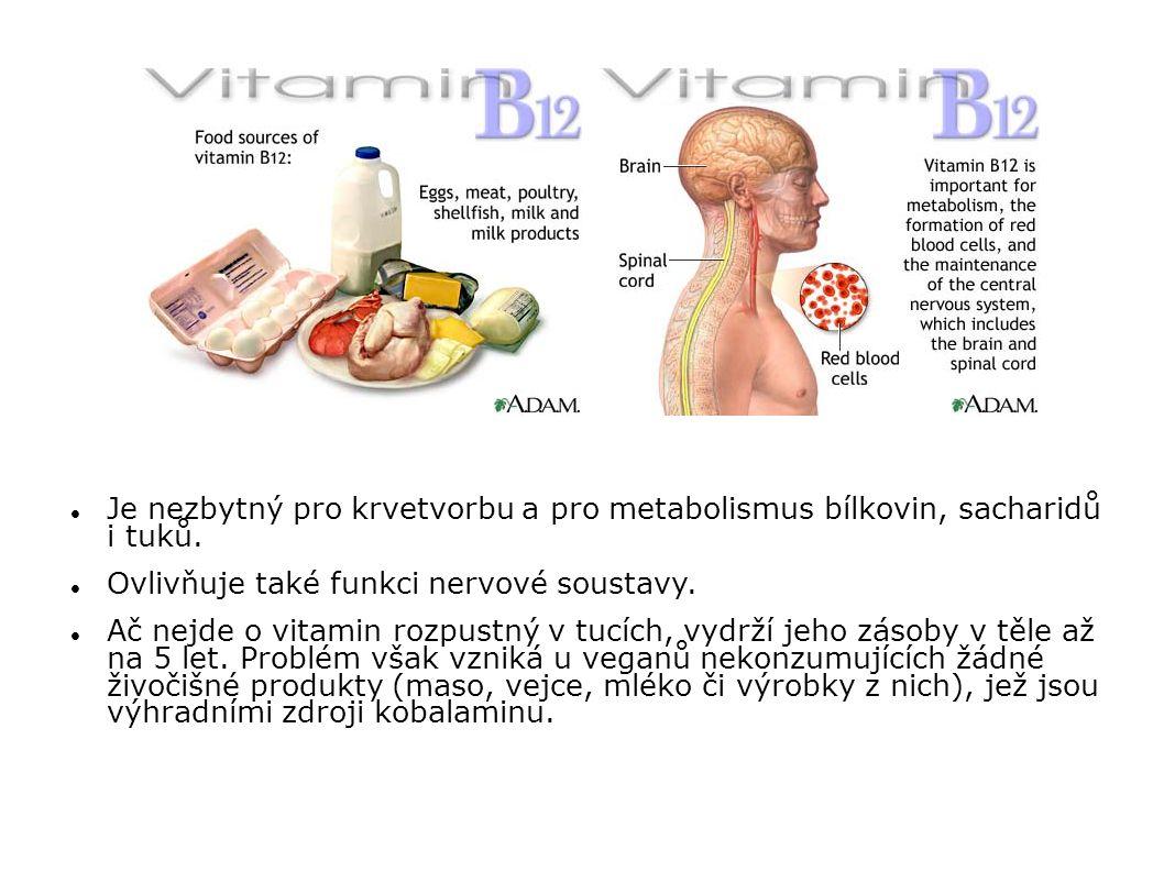 Je nezbytný pro krvetvorbu a pro metabolismus bílkovin, sacharidů i tuků. Ovlivňuje také funkci nervové soustavy. Ač nejde o vitamin rozpustný v tucíc