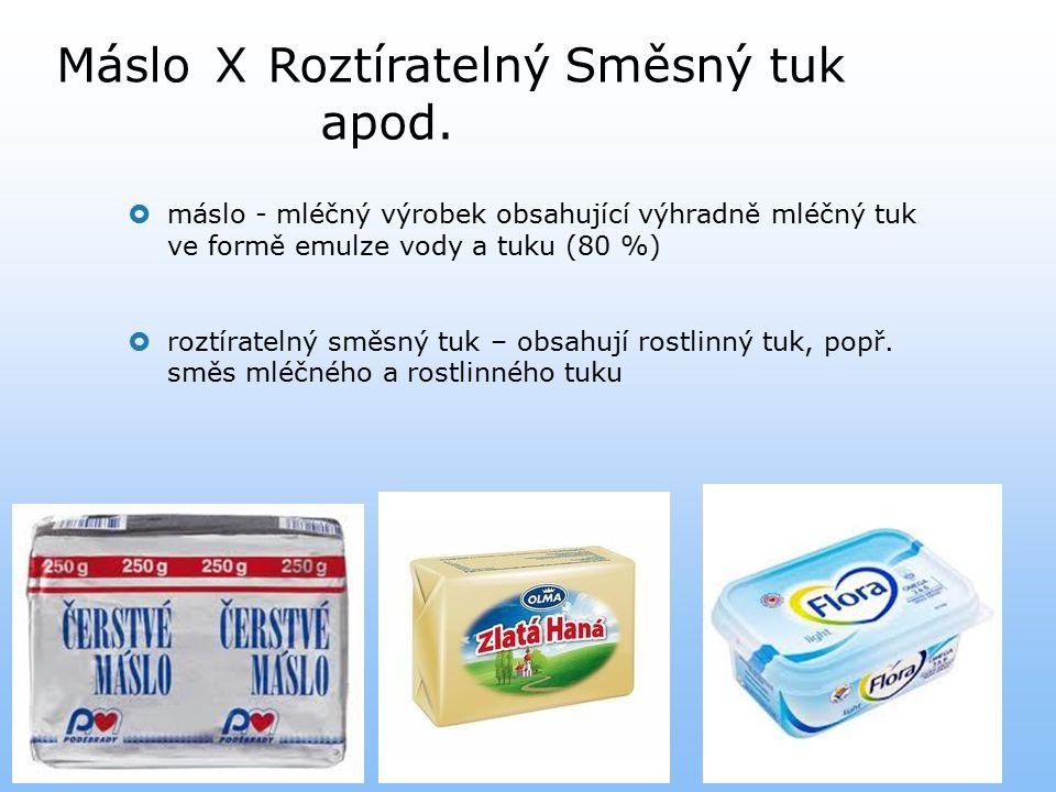 MásloXRoztíratelný Směsný tuk apod.  máslo - mléčný výrobek obsahující výhradně mléčný tuk ve formě emulze vody a tuku (80 %)  roztíratelný směsný t