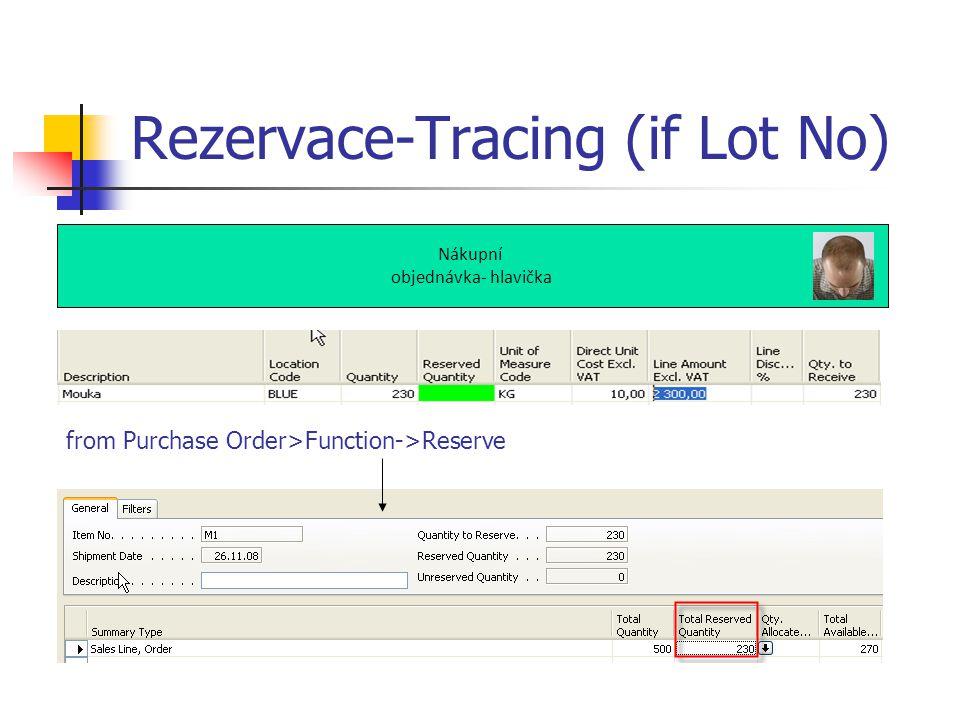 Rezervace-Tracing (if Lot No) Nákupní objednávka- hlavička from Purchase Order>Function->Reserve