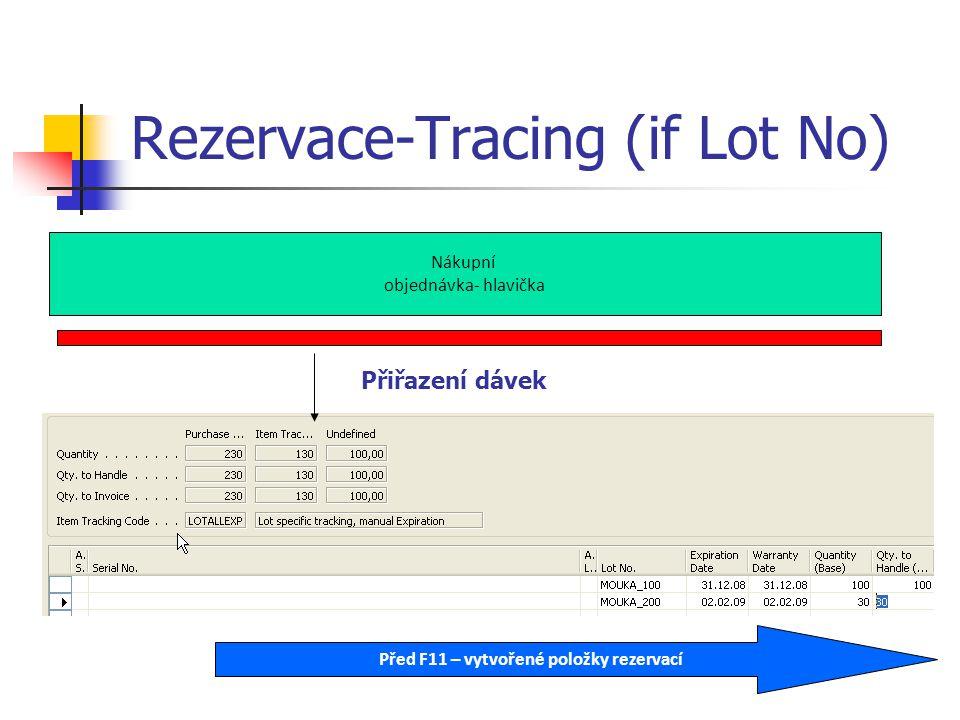 Rezervace-Tracing (if Lot No) Nákupní objednávka- hlavička Přiřazení dávek Před F11 – vytvořené položky rezervací
