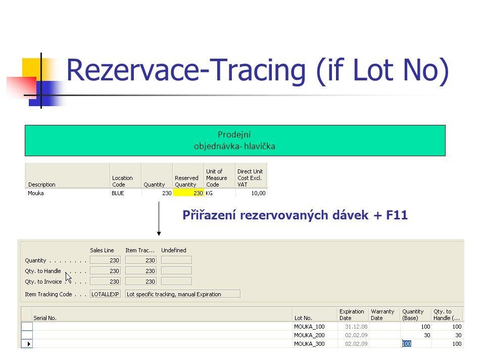 Rezervace-Tracing (if Lot No) Prodejní objednávka- hlavička Přiřazení rezervovaných dávek + F11