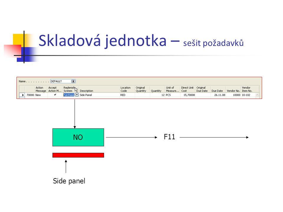 Skladová jednotka – sešit požadavků NO Side panel F11