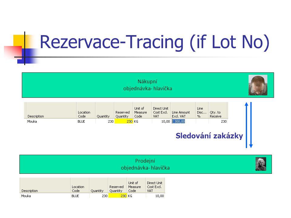 Rezervace-Tracing (if Lot No) Nákupní objednávka- hlavička Prodejní objednávka- hlavička Sledování zakázky