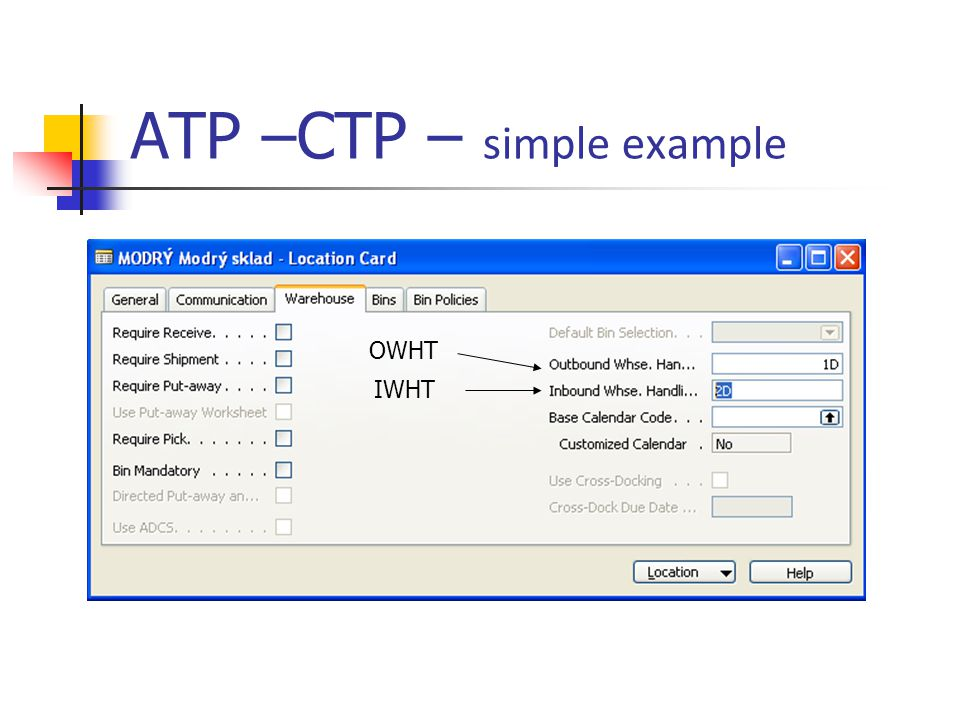 ATP –CTP – simple example IWHT OWHT