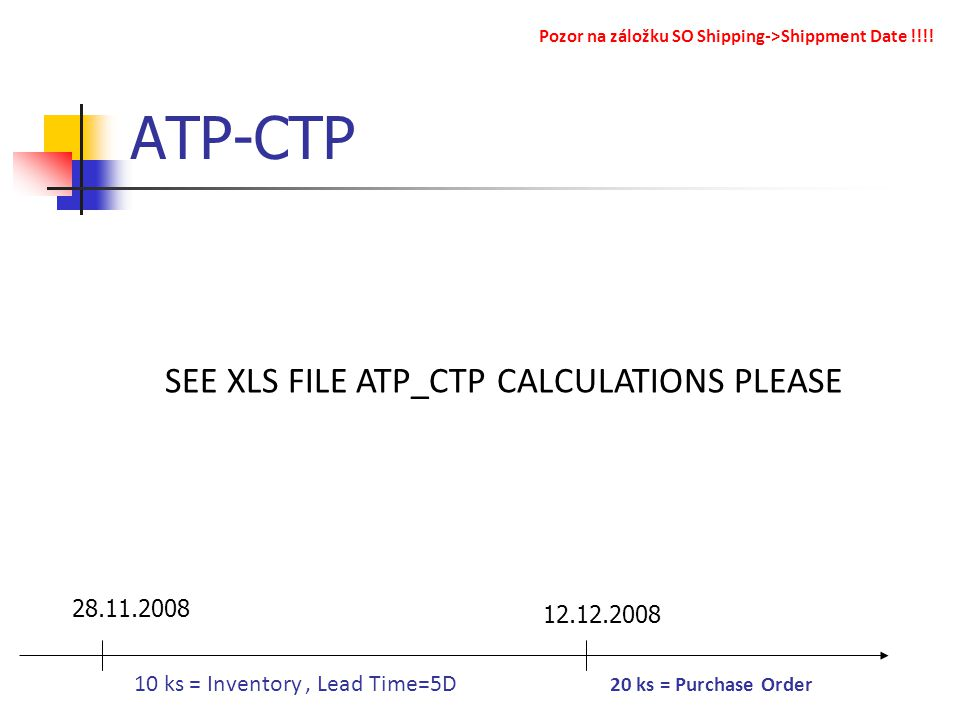 ATP-CTP 28.11.2008 12.12.2008 10 ks = Inventory, Lead Time=5D 20 ks = Purchase Order Pozor na záložku SO Shipping->Shippment Date !!!! SEE XLS FILE AT