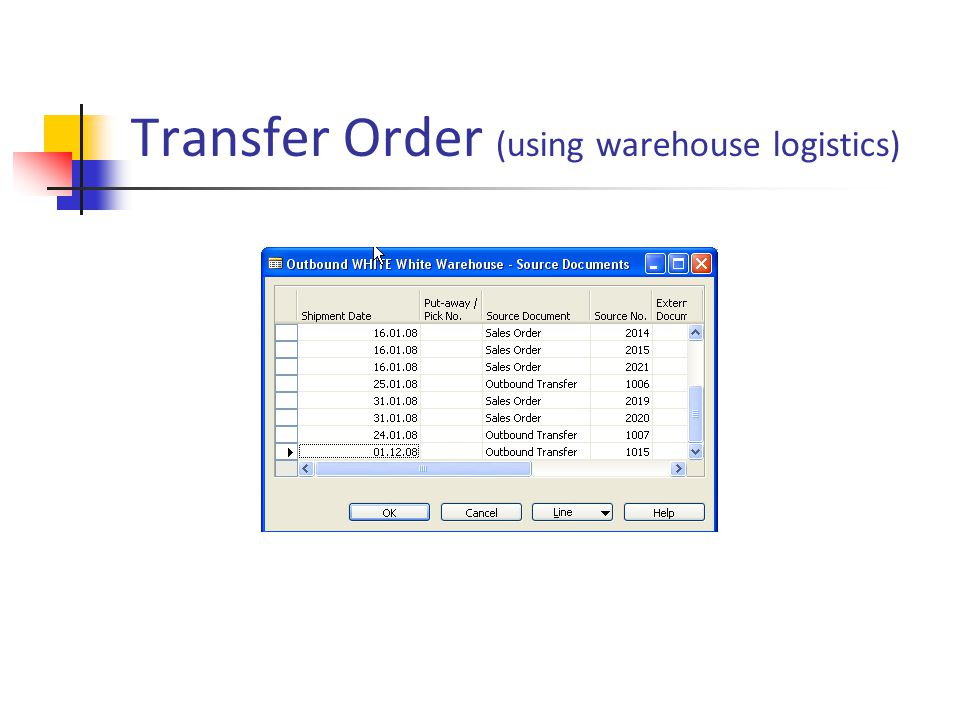 Transfer Order (using warehouse logistics)