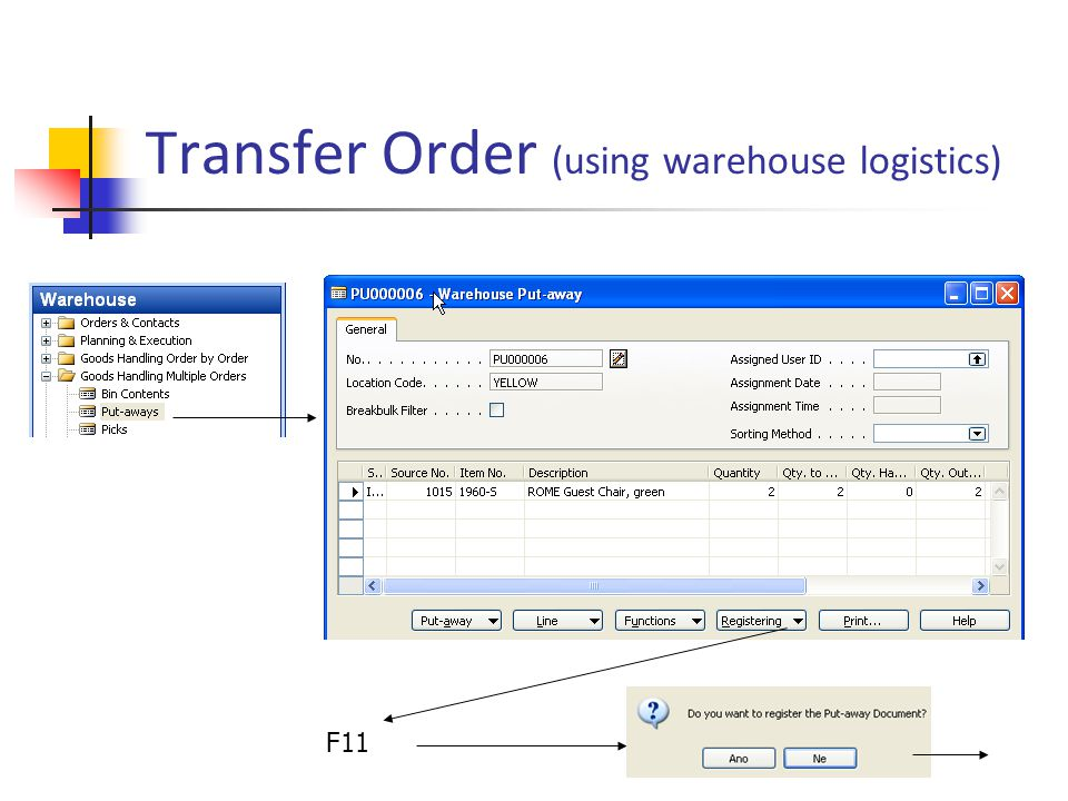 Transfer Order (using warehouse logistics) F11