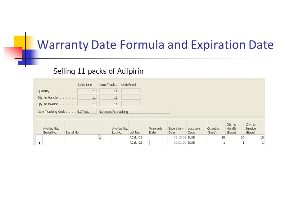 Warranty Date Formula and Expiration Date Selling 11 packs of Acilpirin