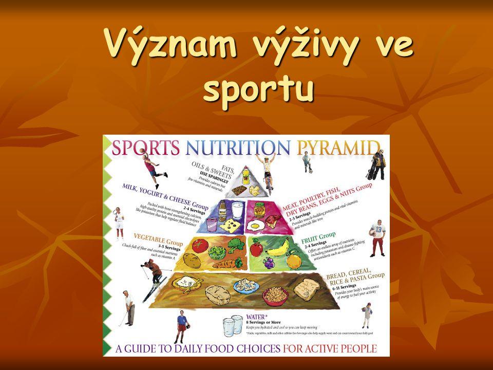 Sylabus Úvod – význam výživy ve sportu, výživová doporučení Úvod – význam výživy ve sportu, výživová doporučení Energetická bilance Energetická bilance Sacharidy, bílkoviny a tuky ve výživě sportovce Sacharidy, bílkoviny a tuky ve výživě sportovce Mikronutrienty ve výživě sportovce, antioxidanty, volné radikály Mikronutrienty ve výživě sportovce, antioxidanty, volné radikály Pitný režim sportovce Pitný režim sportovce Doplňky výživy Doplňky výživy Výživa v jednotlivých fázích sprtovní přípravy Výživa v jednotlivých fázích sprtovní přípravy Výživy před, při, po tréninku Výživy před, při, po tréninku Výživa během soutěže Výživa během soutěže Alternativní výživové směry ve sportu Alternativní výživové směry ve sportu Sportovní výživa specifických skupin – děti, senioři … Sportovní výživa specifických skupin – děti, senioři …