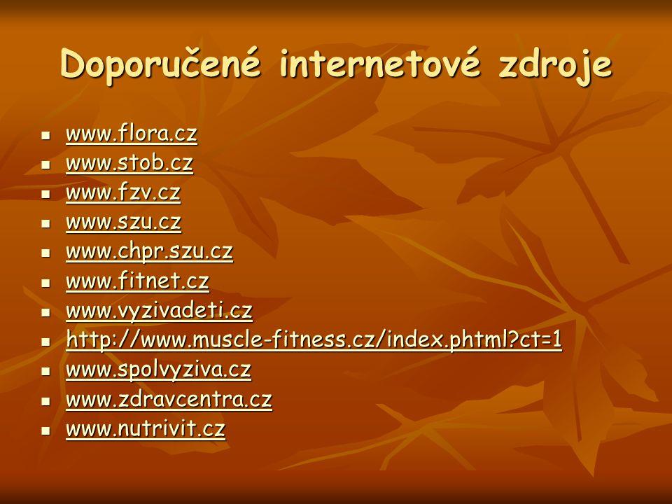Doporučené internetové zdroje www.flora.cz www.flora.cz www.flora.cz www.stob.cz www.stob.cz www.stob.cz www.fzv.cz www.fzv.cz www.fzv.cz www.szu.cz w