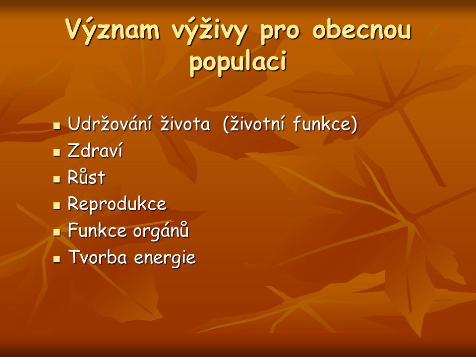 Význam výživy pro obecnou populaci Udržování života (životní funkce) Udržování života (životní funkce) Zdraví Zdraví Růst Růst Reprodukce Reprodukce Funkce orgánů Funkce orgánů Tvorba energie Tvorba energie