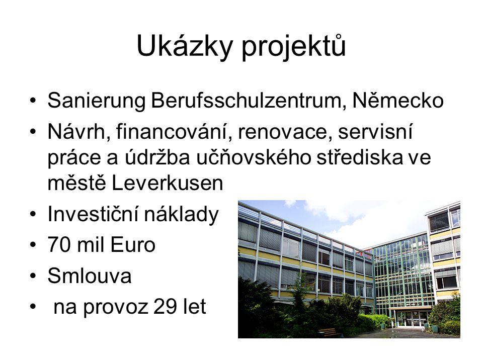 Ukázky projektů Sanierung Berufsschulzentrum, Německo Návrh, financování, renovace, servisní práce a údržba učňovského střediska ve městě Leverkusen Investiční náklady 70 mil Euro Smlouva na provoz 29 let
