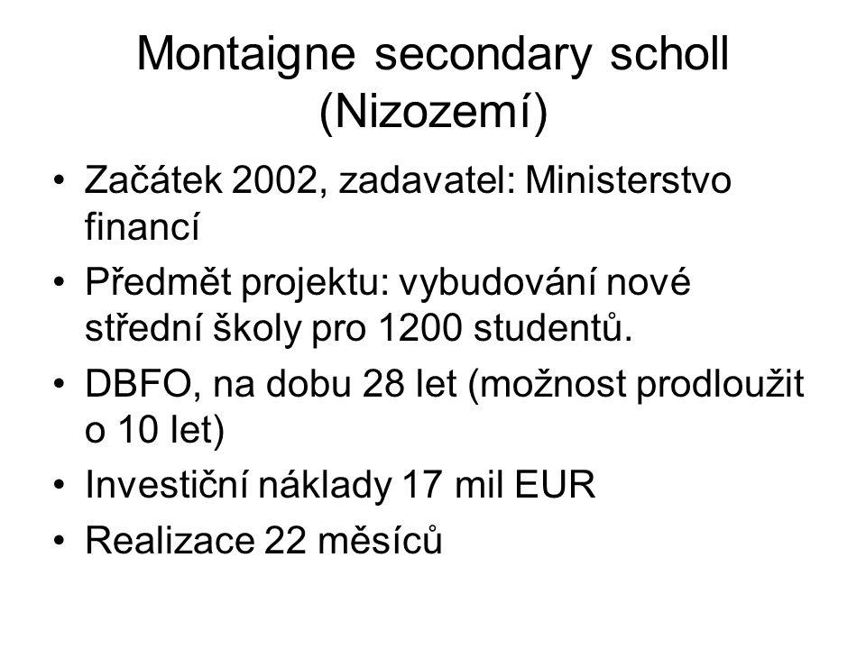 Montaigne secondary scholl (Nizozemí) Začátek 2002, zadavatel: Ministerstvo financí Předmět projektu: vybudování nové střední školy pro 1200 studentů.