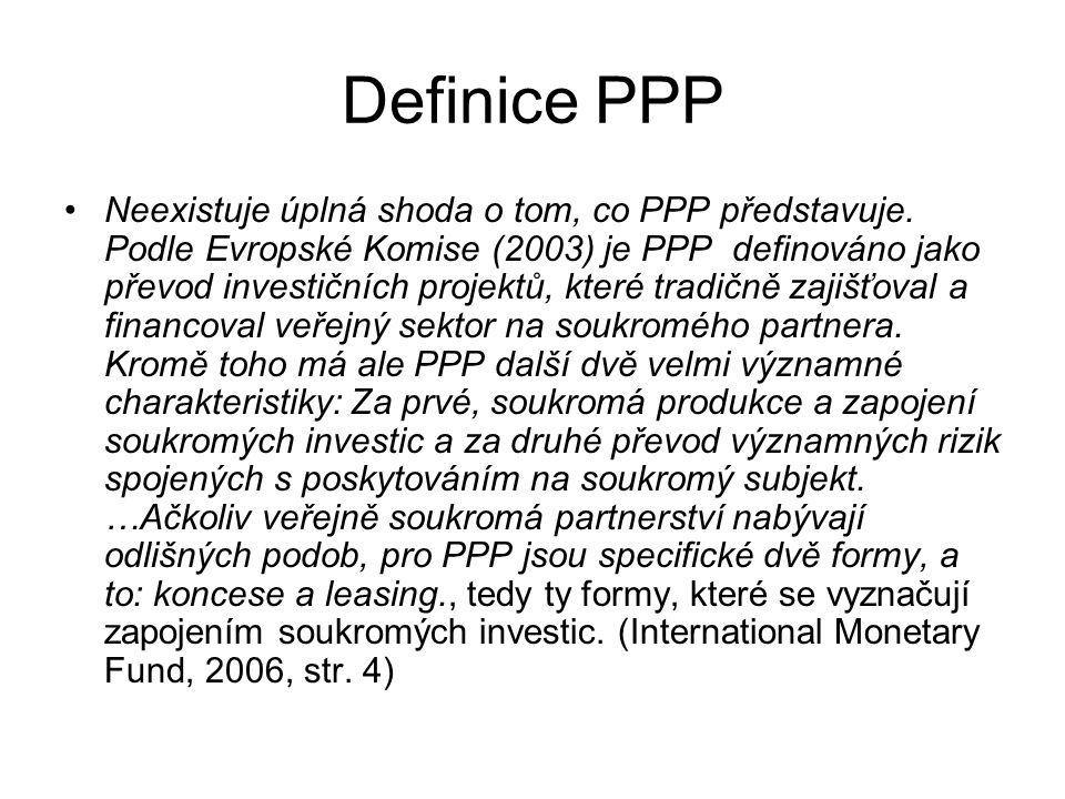 Definice PPP Neexistuje úplná shoda o tom, co PPP představuje.