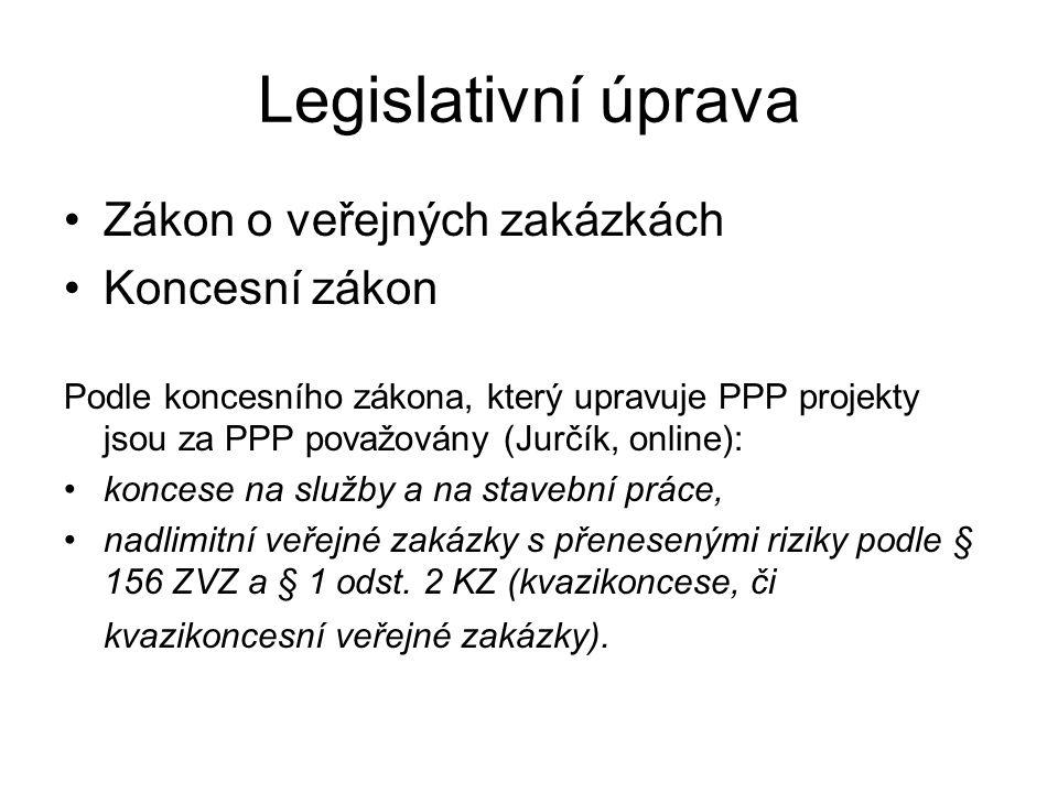 Legislativní úprava Zákon o veřejných zakázkách Koncesní zákon Podle koncesního zákona, který upravuje PPP projekty jsou za PPP považovány (Jurčík, online): koncese na služby a na stavební práce, nadlimitní veřejné zakázky s přenesenými riziky podle § 156 ZVZ a § 1 odst.