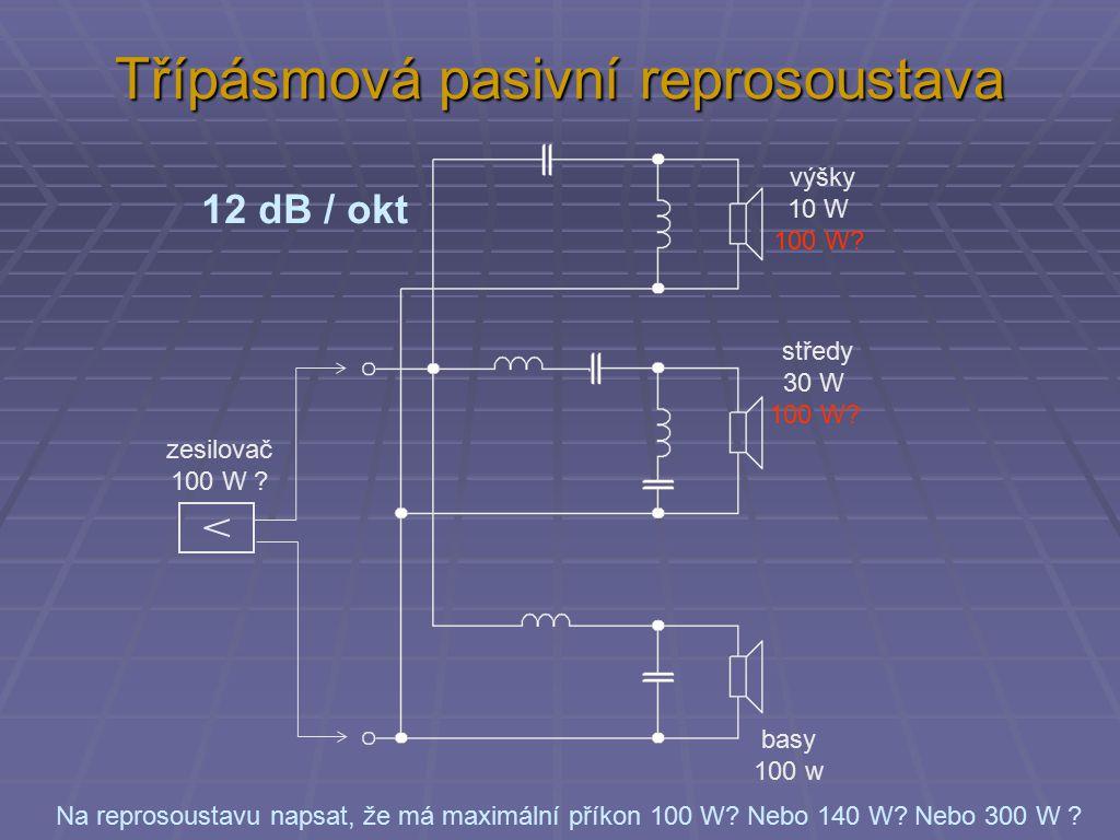 Třípásmová pasivní reprosoustava výšky 10 W 100 W.