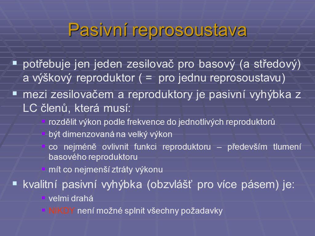 Pasivní reprosoustava  potřebuje jen jeden zesilovač pro basový (a středový) a výškový reproduktor ( = pro jednu reprosoustavu)  mezi zesilovačem a reproduktory je pasivní vyhýbka z LC členů, která musí:  rozdělit výkon podle frekvence do jednotlivých reproduktorů  být dimenzovaná na velký výkon  co nejméně ovlivnit funkci reproduktoru – především tlumení basového reproduktoru  mít co nejmenší ztráty výkonu  kvalitní pasivní vyhýbka (obzvlášť pro více pásem) je:  velmi drahá  NIKDY není možné splnit všechny požadavky
