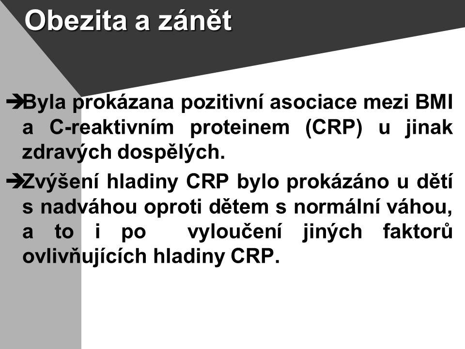Obezita a zánět  Byla prokázana pozitivní asociace mezi BMI a C-reaktivním proteinem (CRP) u jinak zdravých dospělých.