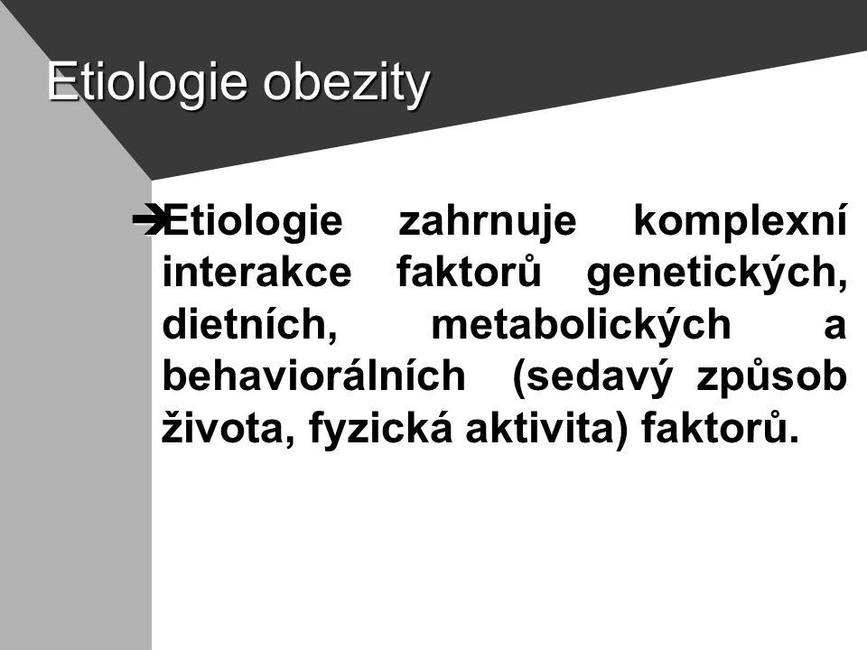 Etiologie obezity  Etiologie zahrnuje komplexní interakce faktorů genetických, dietních, metabolických a behaviorálních (sedavý způsob života, fyzická aktivita) faktorů.