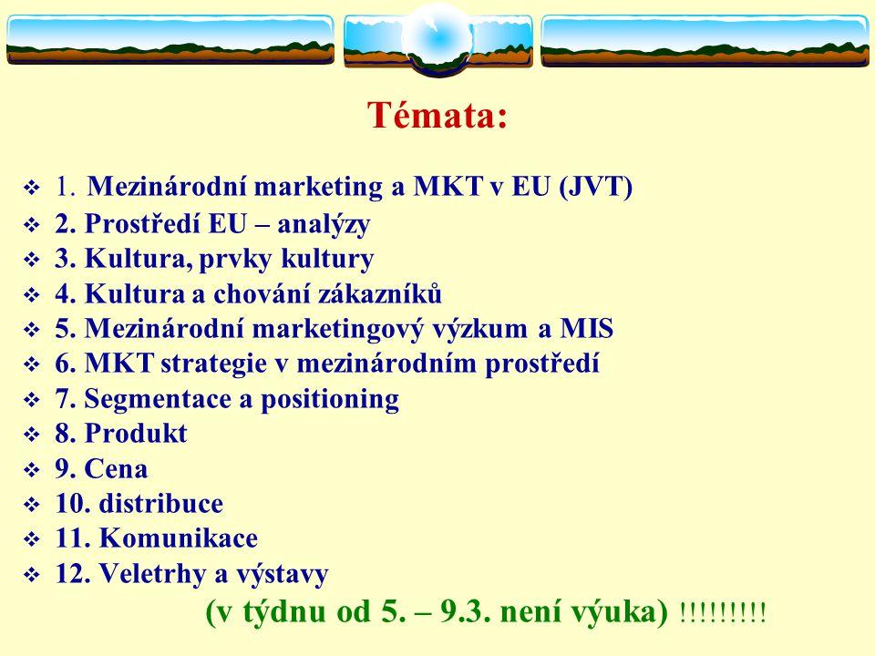 Témata:  1. Mezinárodní marketing a MKT v EU (JVT)  2.