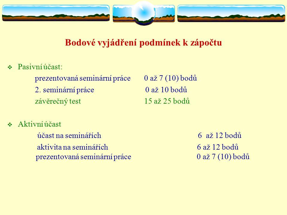 Bodové vyjádření podmínek k zápočtu  Pasivní účast: prezentovaná seminární práce 0 až 7 (10) bodů 2.