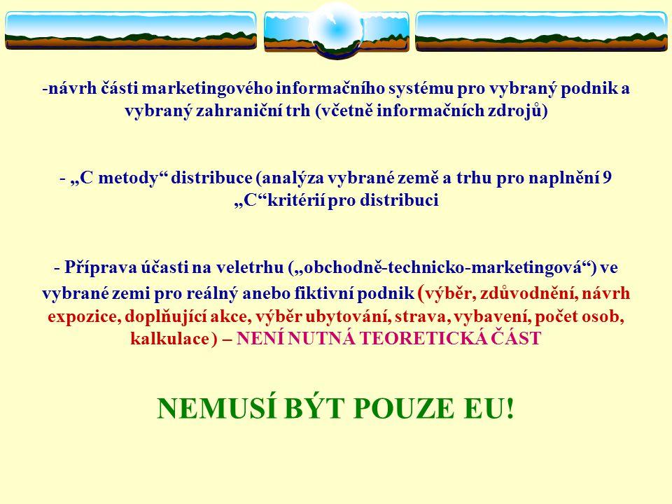 Literatura – test a seminárky  KLAPALOVÁ, A.Marketing v EU.