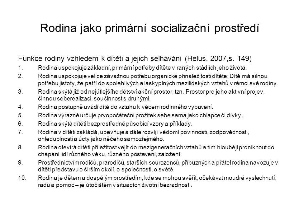 Rodina jako primární socializační prostředí Funkce rodiny vzhledem k dítěti a jejich selhávání (Helus, 2007,s. 149) 1.Rodina uspokojuje základní, prim