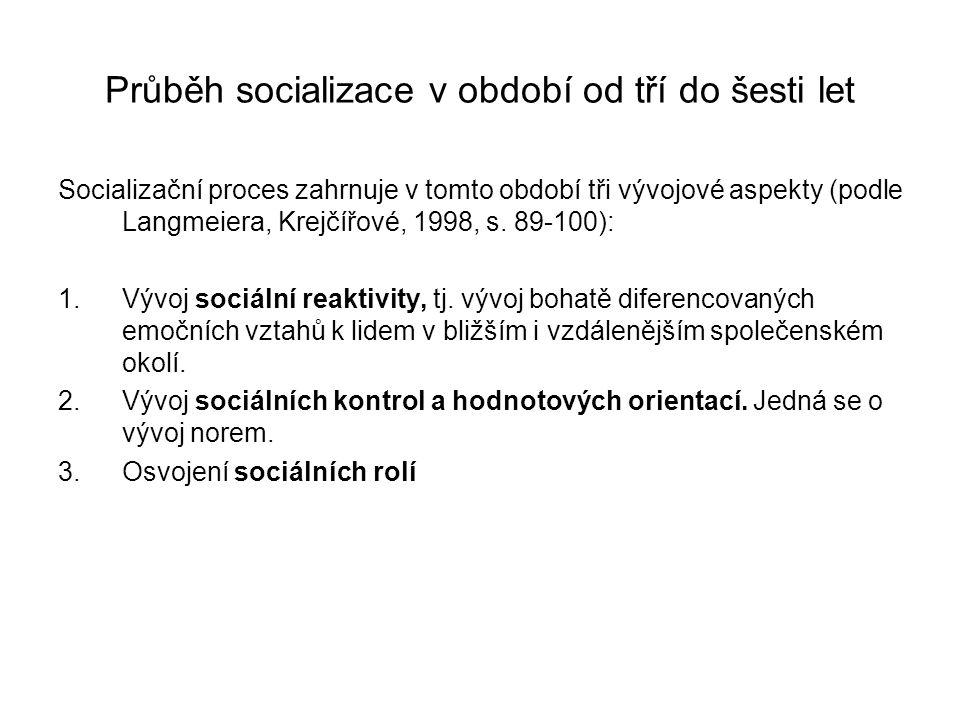 Průběh socializace v období od tří do šesti let Socializační proces zahrnuje v tomto období tři vývojové aspekty (podle Langmeiera, Krejčířové, 1998,