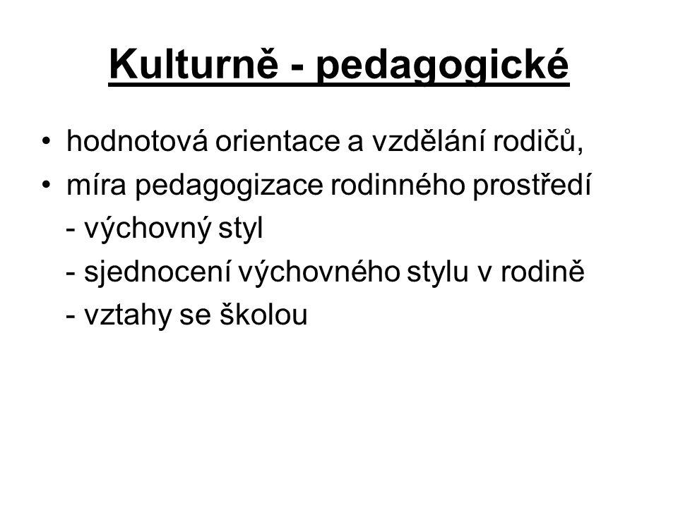 Kulturně - pedagogické hodnotová orientace a vzdělání rodičů, míra pedagogizace rodinného prostředí - výchovný styl - sjednocení výchovného stylu v ro