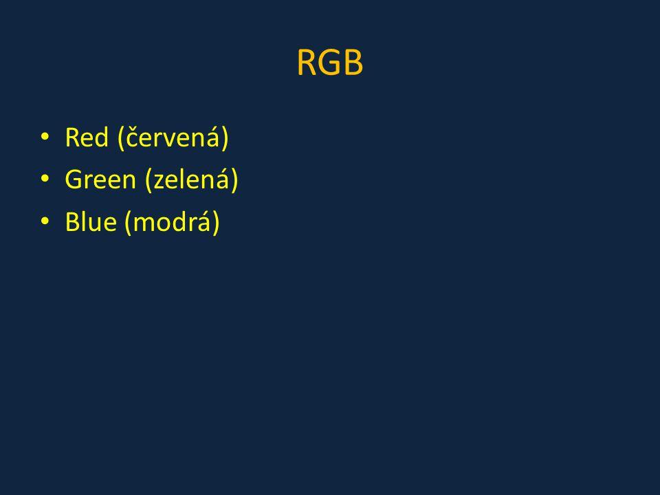 """RGB jde o aditivní (""""přičítací ) způsob míchání barev používá se v monitorech, projektorech, fotoaparátech a dalších podobných zařízeních barvy zobrazuje tak, že míchá vyzařované (nebo přijímané) světlo"""