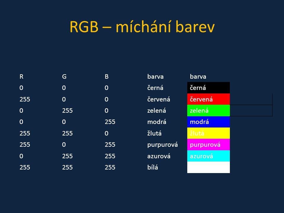RGB – míchání barev RGBbarva 000černá 25500červená 02550zelená 00255modrá 255 0žlutá 2550 purpurová 0255 azurová 255 bílá