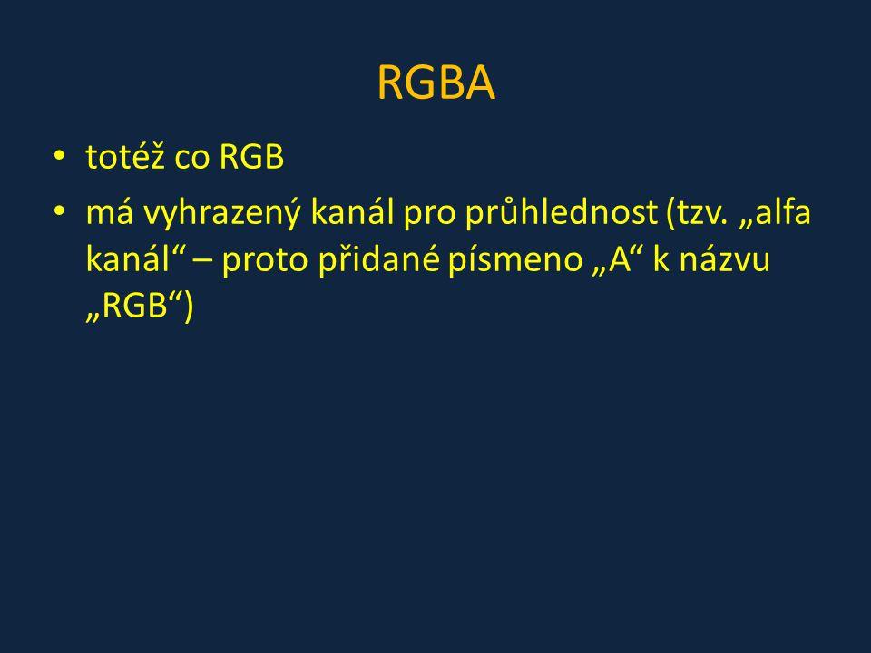 """RGBA totéž co RGB má vyhrazený kanál pro průhlednost (tzv. """"alfa kanál"""" – proto přidané písmeno """"A"""" k názvu """"RGB"""")"""