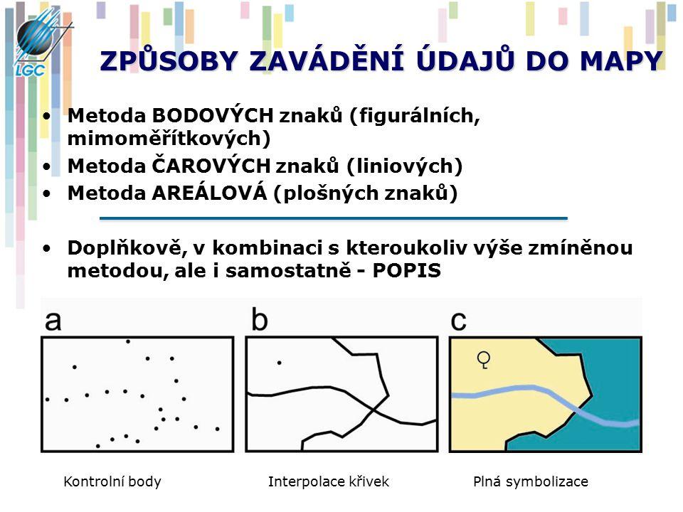 ZPŮSOBY ZAVÁDĚNÍ ÚDAJŮ DO MAPY Metoda BODOVÝCH znaků (figurálních, mimoměřítkových) Metoda ČAROVÝCH znaků (liniových) Metoda AREÁLOVÁ (plošných znaků)