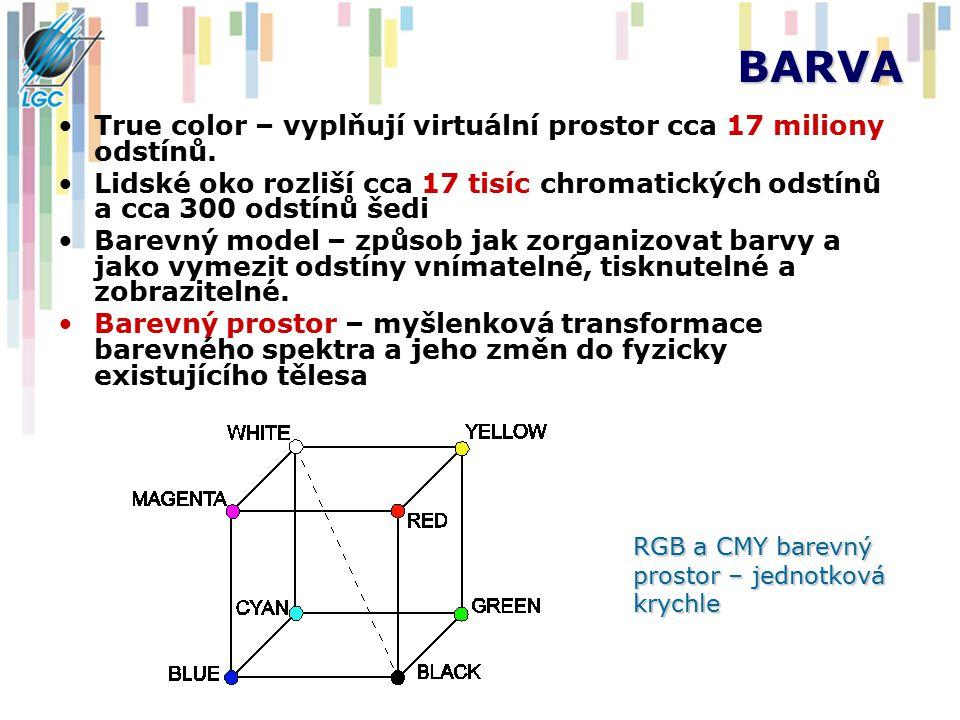 BARVA True color – vyplňují virtuální prostor cca 17 miliony odstínů. Lidské oko rozliší cca 17 tisíc chromatických odstínů a cca 300 odstínů šedi Bar