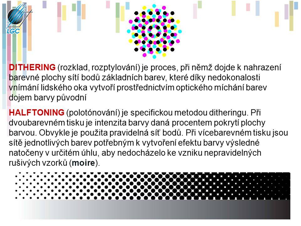 DITHERING (rozklad, rozptylování) je proces, při němž dojde k nahrazení barevné plochy sítí bodů základních barev, které díky nedokonalosti vnímání li