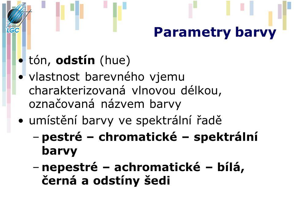 Parametry barvy tón, odstín (hue) vlastnost barevného vjemu charakterizovaná vlnovou délkou, označovaná názvem barvy umístění barvy ve spektrální řadě