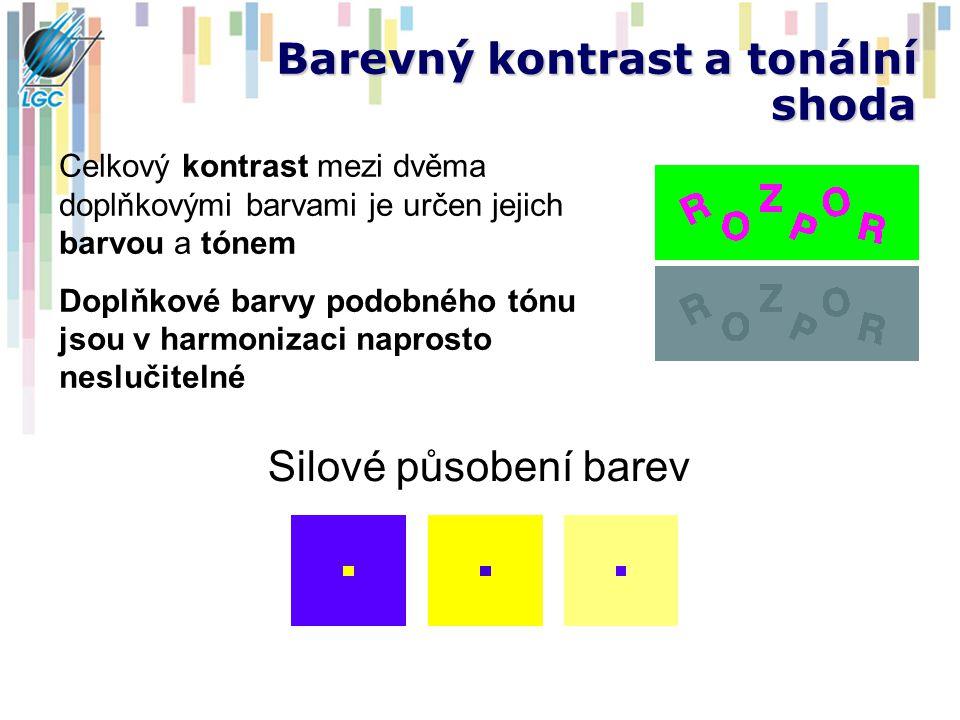 Barevný kontrast a tonální shoda Silové působení barev Celkový kontrast mezi dvěma doplňkovými barvami je určen jejich barvou a tónem Doplňkové barvy