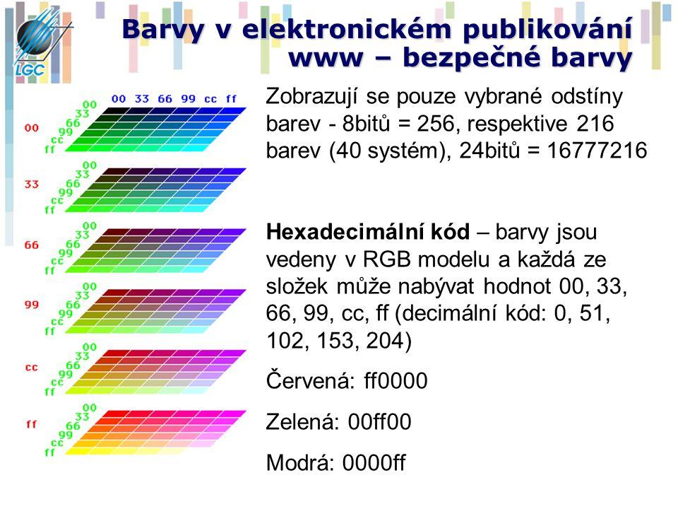 Barvy v elektronickém publikování www – bezpečné barvy Zobrazují se pouze vybrané odstíny barev - 8bitů = 256, respektive 216 barev (40 systém), 24bit