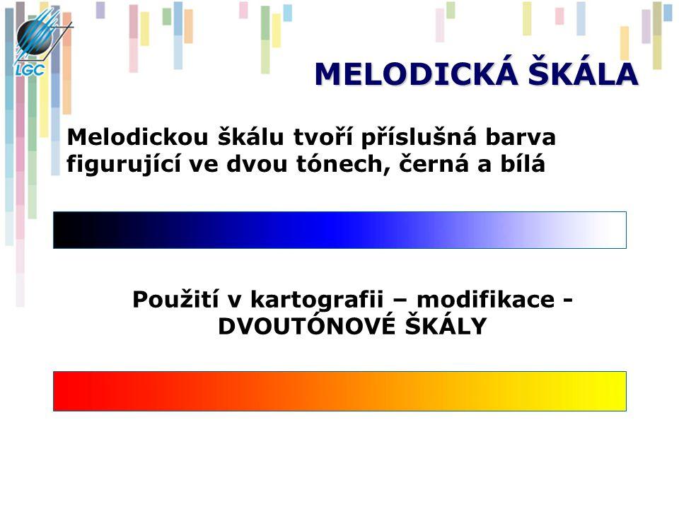 MELODICKÁ ŠKÁLA Melodickou škálu tvoří příslušná barva figurující ve dvou tónech, černá a bílá Použití v kartografii – modifikace - DVOUTÓNOVÉ ŠKÁLY