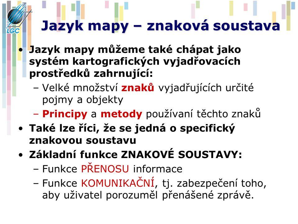 Jazyk mapy – znaková soustava Jazyk mapy můžeme také chápat jako systém kartografických vyjadřovacích prostředků zahrnující: –Velké množství znaků vyj