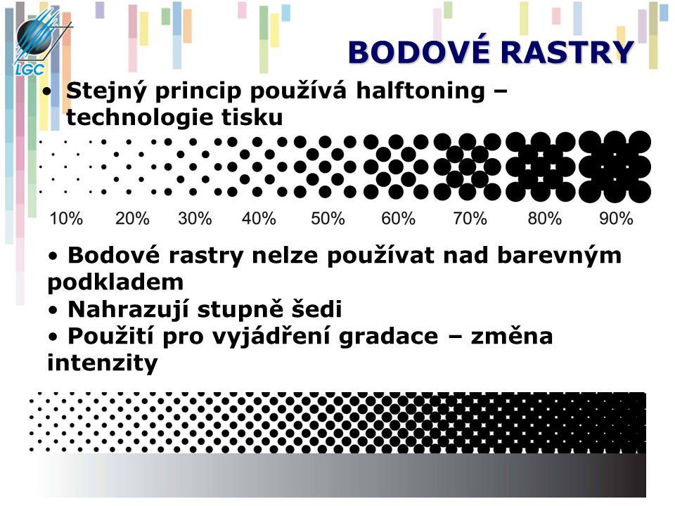 BODOVÉ RASTRY Stejný princip používá halftoning – technologie tisku Bodové rastry nelze používat nad barevným podkladem Nahrazují stupně šedi Použití