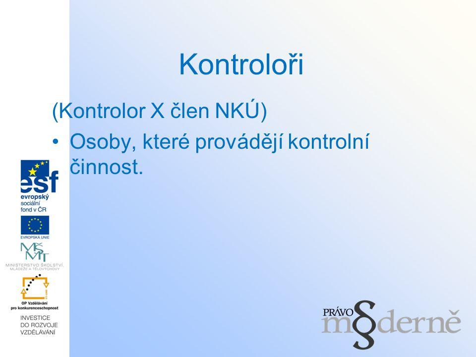 Kontroloři (Kontrolor X člen NKÚ) Osoby, které provádějí kontrolní činnost.