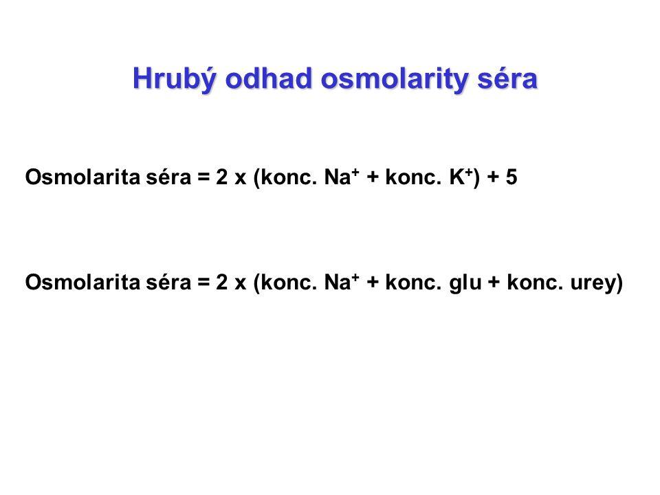 Hrubý odhad osmolarity séra Osmolarita séra = 2 x (konc. Na + + konc. K + ) + 5 Osmolarita séra = 2 x (konc. Na + + konc. glu + konc. urey)